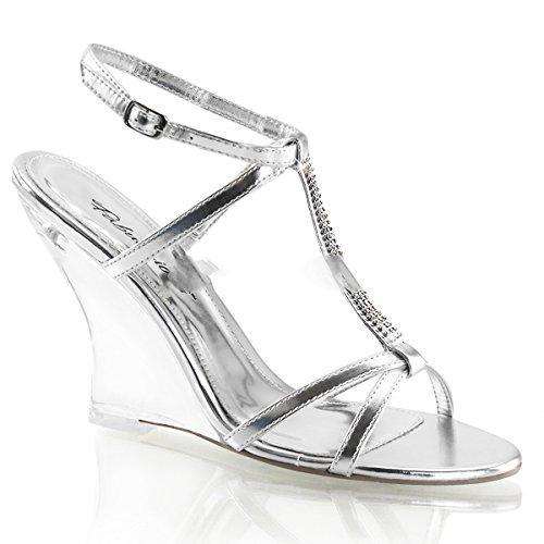 fabuli cious Lovely de 428Sexy Tacón Wedge brillantes sandaletten transparente plata Metallic 35–
