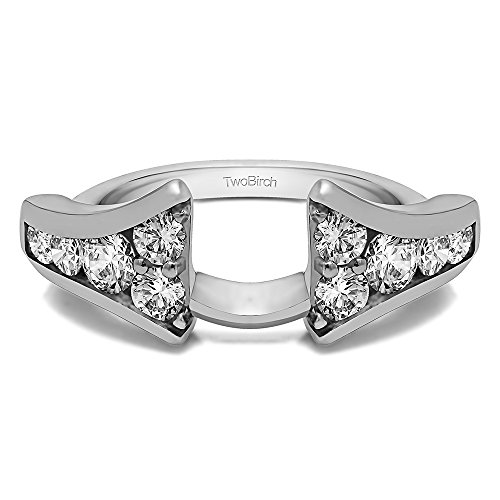 TwoBirch Sterling Silver Round Chevron Wedding Wrap With Diamonds(G,I2)(0.25Ct) Size 3 to 15 in 1/4 Size Interval
