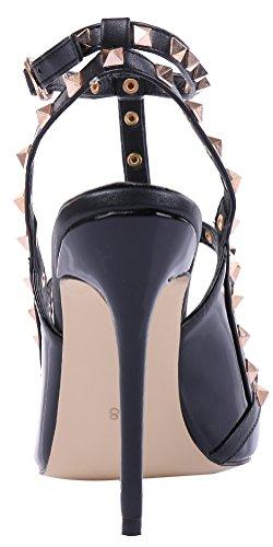 MONICOCO spangen candy t couleurs cuir avec de creux boucle Schwarz oversize rivets verni chaussures en escarpins Lackleder rwIHfqr