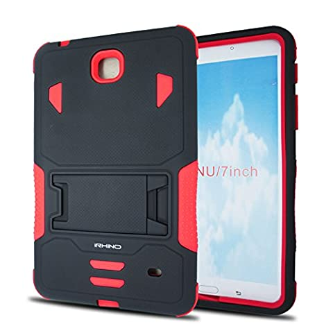 [iRhino] TM BLACK-RED Heavy Duty rugged impact Dual Layer Hybrid Case cover with Build In Kickstand Protective Case cover For Samsung galaxy Tab 4 7 inch T230 Tablet case (Otter Box Galaxy Tablet 4)