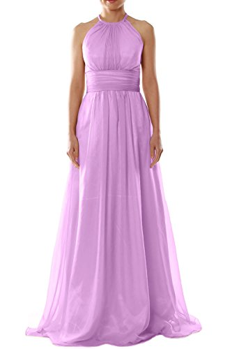 MACloth Women Halter Chiffon Long Bridesmaid Dress Wedding Party Evening Gown Rosa