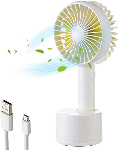 Handheld Fan, Mini USB Rechargeable Desk Fan Quiet Oscillating Fan for Office 5 Speed Adjustable Portable Table Fan for Kids Girls Women