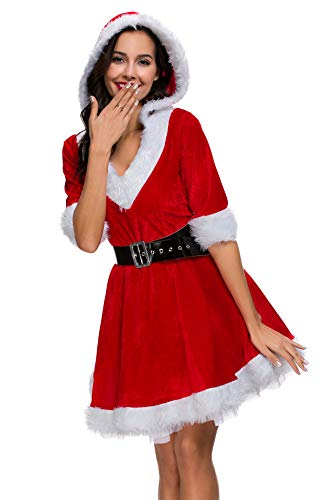 Mrs. Claus Costume Santa Christmas Outfits Hooded Dress for Adult Women Medium