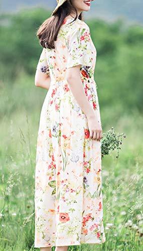 E Party Feiertagskleid Maxi Cocktail Beige Kurzarm Lose Damen Q32321 Kleider Baumwolle girl Kleid Blumen qHfq6Rrp