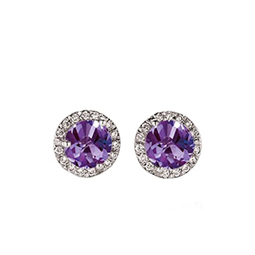 Gold Amethyst Diamond Earrings - 6
