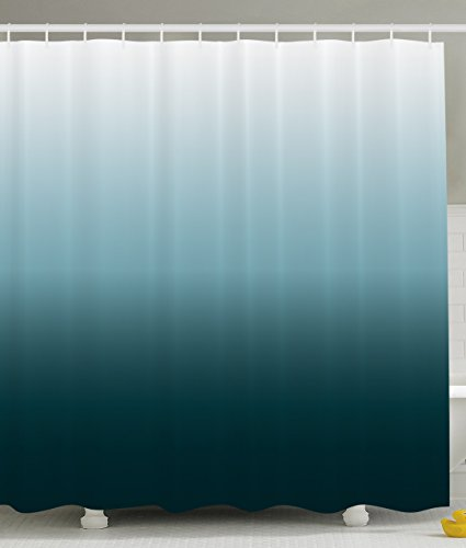Ombre Shower Curtain Art Bathroom Decor by Ambesonne, 70 Inches Long Home Decorations, Polyester Fabric Shower Curtain Set with Hooks, Ombre Colorful Design, White Teal (Curtains Designer Shower Fabric)