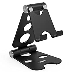Adjustable Cell Phone Stand, iKsee Smartphone Tablet Stand, Dual Foldable Phone Holder, Cradle for iPhone 8 X 7 6 6s Plus 5 5s 5c Tablet E-Reader(4-13