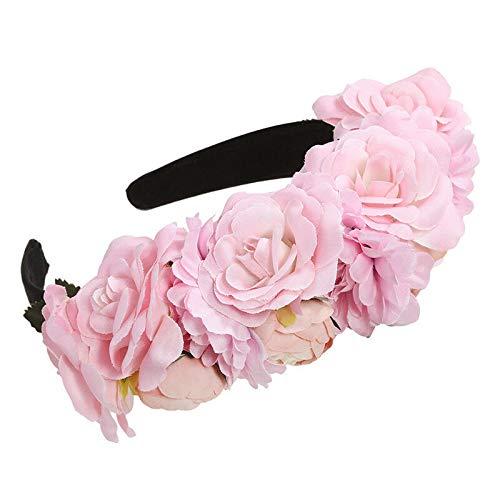 (Bridal Rose Flower Headband Crown Wedding Hairband Garland Floral Wreath Beach (Colors - Pink))