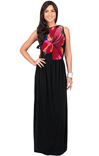 KOH KOH Women Long Sleeveless Summer Floral Printed Casual Beach Cute Boho Sundress Hawaiian Party Gown Gowns Maxi Dress Dresses, Red and Black M 8-10 (1)