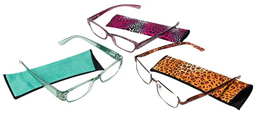 Leader 221301000 Fusion Eyeglass Plastic Readers Includes 3 Different Reader Styles, Each with a Soft Case, +1.00 (Pack of - Style Different Glasses