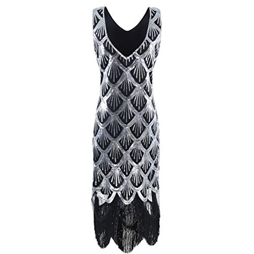 Rakkiss Women Vintage 1920s Bead Fringe Sequin Lace Party Flapper Cocktail Prom Dress Series 3 ()