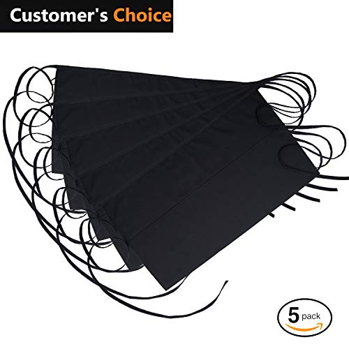 """(NEZZON Black Waitress Apron-5 Pack with 3 Pockets: 7.9x6.5""""–Commercial Grade 35% Cotton & 65% Polyester–Professionally Hemmed Edges to Last–Smart Look,Low Crease–Machine Wash,Iron,Quick Dry)"""