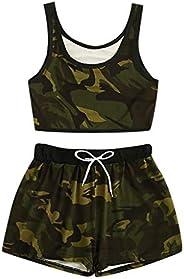 Women's 2PCS Camo Print Skirt Set Cami Top Satin Drawstring Waist Shorts Set Fashion Sleeveless T-Shirt Sl