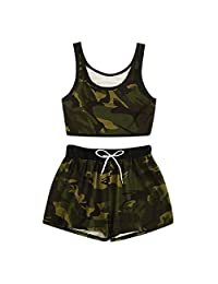 Women's 2PCS Camo Print Skirt Set Cami Top Satin Drawstring Waist Shorts Set Fashion Sleeveless T-Shirt Slim Mini Skirt Sets