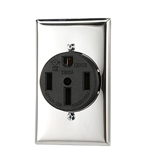 250v Mount Flush (Dryer Receptacle NEMA 14-50R 3 Pole 4 Wire 125 250V AC 50 Amp Flush Mount Female Heavy Duty Receptacle with Installing Screws and Stainless Cover)