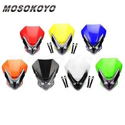 FidgetFidget Dirt Bike Motorcycle Universal LED Vision Headlight Supermoto Head Lamp Black