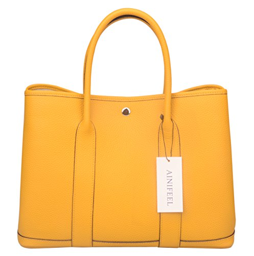c4d6a048c6 Ainifeel Women's Genuine Leather Tote Bag Top Handle Handbags (Dark Yellow)  by Ainifeel (
