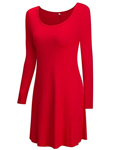 T Dress Women's TOPONSKY Cotton Casual Plain Loose Fit Sleeve long red 21 Shirt Simple Short sleeve w10PqxH