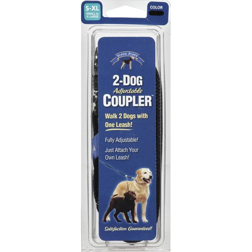 1 Black Yuppie Puppy Small to Extra Large 2 Dog Adjustable Coupler