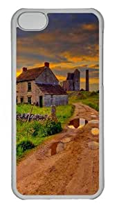 Grass house road scenic skies Protective PC Case Cover for iPhone 5c - Transparent
