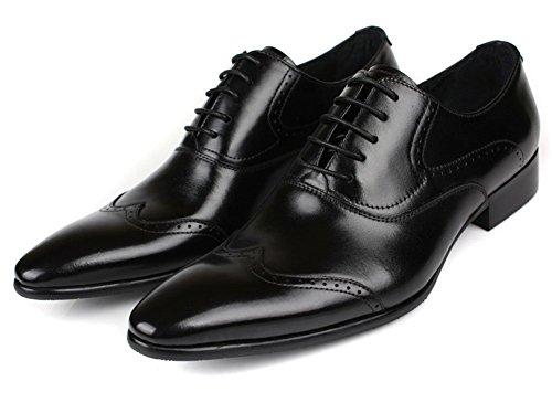 Jsix Zapatos de Vestir para Hombre Con Cordones De Cuero Brogue Negro