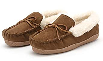 Pembrook Ladies Moccasin Slippers - S - Tan - Micro suede Indoor and Outdoor Non-Skid Sole - Great Plush Slip On House or Driving Shoes for adults, Women, Girls