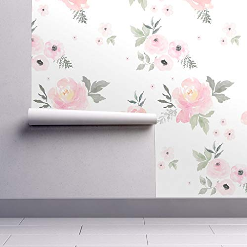 Peel-and-Stick Removable Wallpaper - Pastels Floral Baby Girl Nursery Home Decor Apparel Pastels Baby Girl by Shopcabin - 24in x 108in Woven Textured Peel-and-Stick Removable Wallpaper Roll