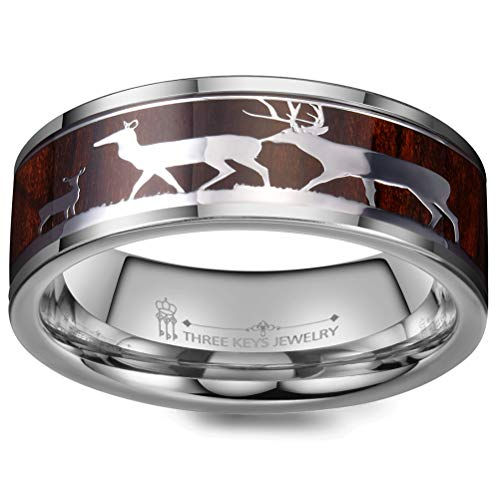 THREE KEYS JEWELRY Mens Rings Unique Tungsten Deer Forest Hunting Carbide for Man Ring 8mm Wedding Koa Wodden Band Gifts Bands Rings for Men Silver Size 11
