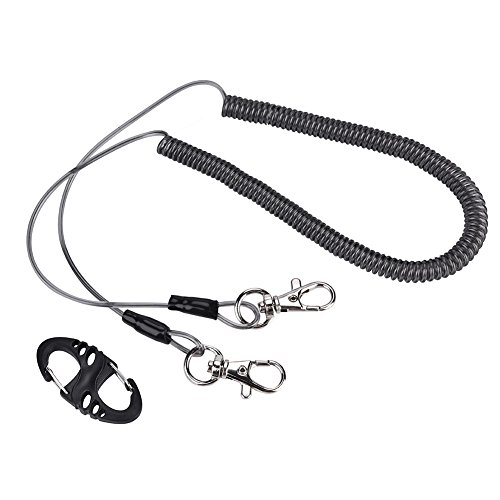 Alomejor Safety Stainless Steel Wire Fishing Lanyard, Durable Retractable Heavy Duty Lanyard With Carabiner for Mountaineering by Alomejor (Image #9)