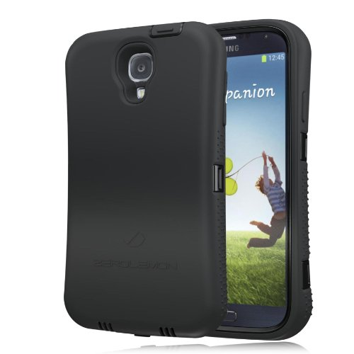 Zerolemon Black Zero Shock Series for Samsung Galaxy S4 S Iv I9500 - Covers All Battery Sizes - Worlds Only Universal Form Fitting Case. Rugged Hybrid Case Includes Built in Screen Protector, Belt Clip and Kickstand.