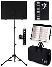 GLEAM Sheet Music Stand - 2 in 1 Dual-Use Desktop Book Stand Metal with Carrying Bag Folder and Clamp