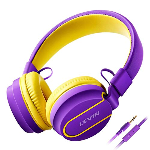 Kids Headphones for Kids Headphones Foldable Over Ear Headphones with Microphone, Adjustable Wired Stereo Hi-Fi Lightweight Headsets for Kids/Teens (Purple/Yellow)