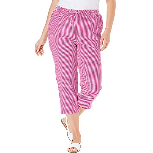 Woman Within Women's Plus Size Seersucker Capri Pant - Bright Berry Stripe, 34 W ()