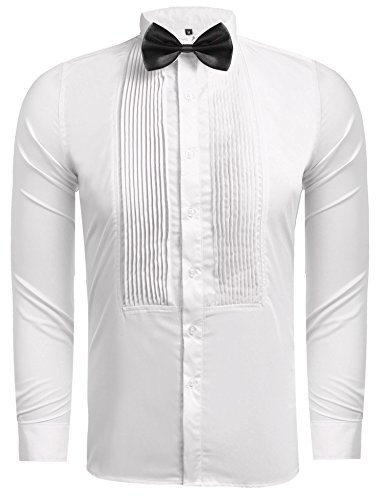 Hasuit Men's Wing-tip Collar Tuxedo Shirts With French Cuffs And Bow Tie