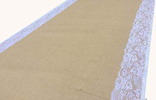 AAYU Brand Premium Burlap Wedding Aisle Runner | 5 Inches Ivory Lace attached on both edges,48 inch x 100 feet Wide & extra Long -