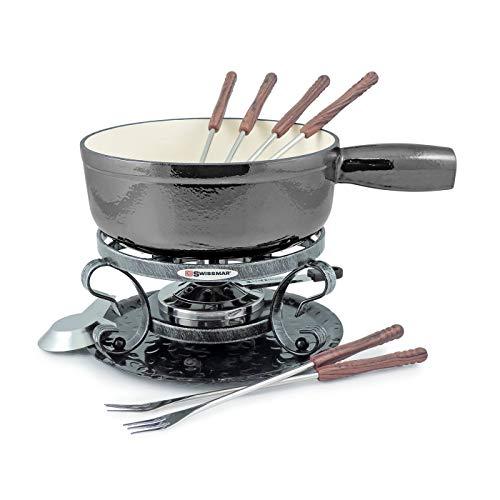 - Swissmar Lugano 9 Piece Cast Iron Fondue Set, Metallic Black