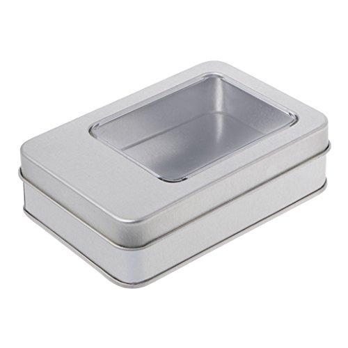 Milue Rectangular Tin Silver Storage Box Case Organizer with Half Clear Window Lid (04#)