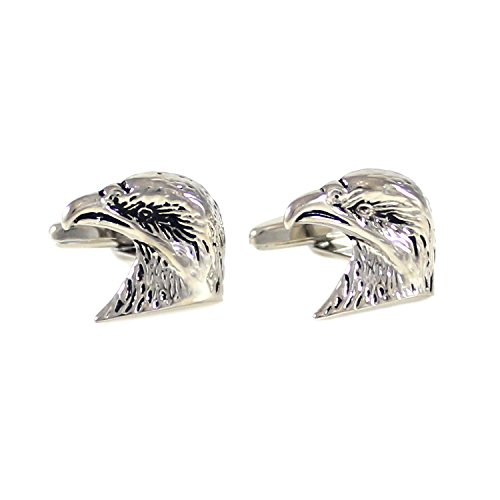 Eagle Cufflinks Head - MENDEPOT Rhodium Plated Antique Silver Tone Eagle Head Cuff Links with Gift Box