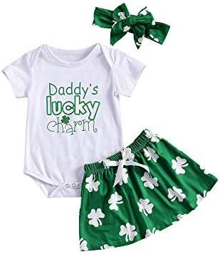 MAI Baby Meisje Outfit Patricks Dag Dads Lucky Charm Layette Set Korte Mouw TopKlaver RokHoofdband