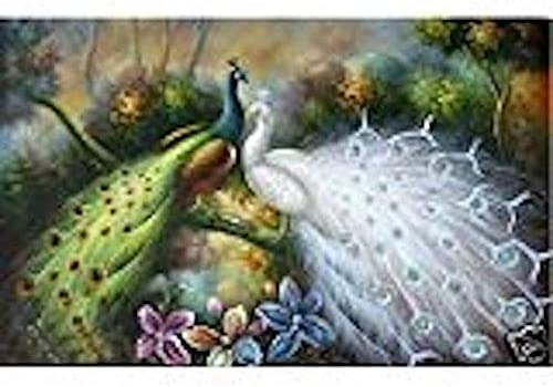 No Frame 100 Hand craft art animal Birds Art oil painting the white and green Peacocks