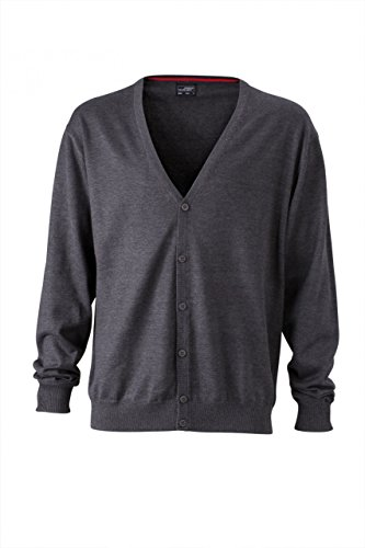 Melange Neck with Men's V Anthracite Cardigan Cardigan Men's V Neck zqP5q