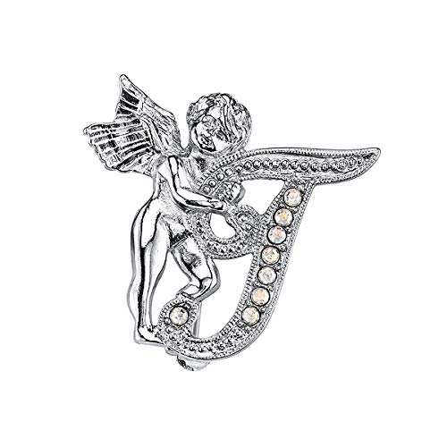 Heavenly Angel Pins - 1928 Jewelry Silver-Tone Guardian Angel Script Initial T Pin