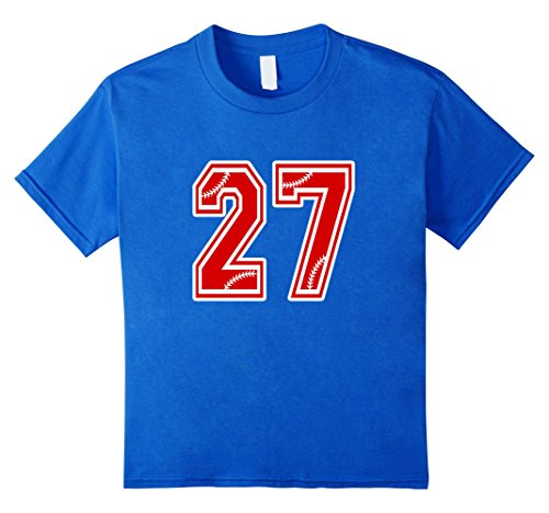 Kids Baseball Number 27 T Shirt Red 6 Royal (Kids Baseball Jersey)