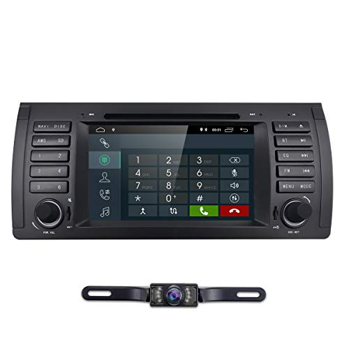 hizpo Car Stereo in Dash Radio DVD Player Fit for BMW E39 E38 M5 X5 5 Series, 1 Din 7 Inch Android 8.1 Car GPS Navigation Bluetooth 4G WiFi OBD2 DAB+ DTV TPMS 1080P + Rearview Camera