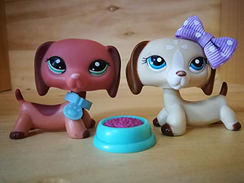 (LPSDOG LPS Dachshund 2046 1491 Pink Light Brown Dog Puppy Cartoon Figures Lot with Accessories Kids Boys Girls Collection)
