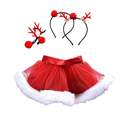 Kids Christmas Clothes Set Baby GirlsTutu Ballet Skirts Fancy Party Skirt + Headband Outfits (5 years old, Red) ()