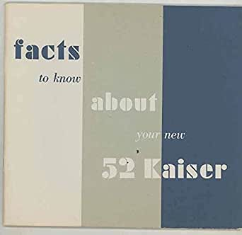 Amazon.com: 1952 Kaiser ORIGINAL Owner's Manual & Service ...