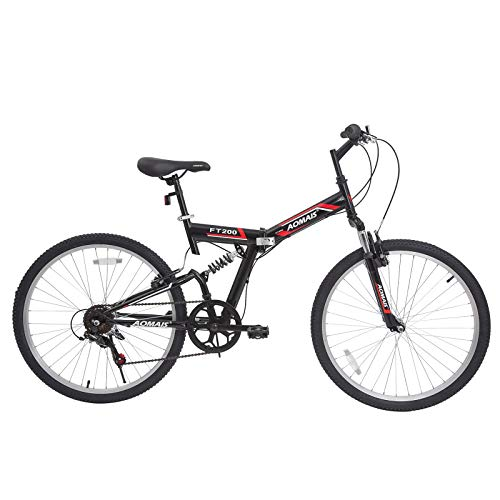 Murtisol Folding Mountain Bikes 26'' Foldable Bikes with Softtail Full Suspension & Designed Folding Fork & Adjustable Seat & 7 Speeds Derailleur Red Black
