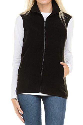 EttelLut Unisex Regular Plus Size Light Weight Polar fleece jacket women plus size zip up w Side Pockets Black XL (Womens Vests With Pockets)