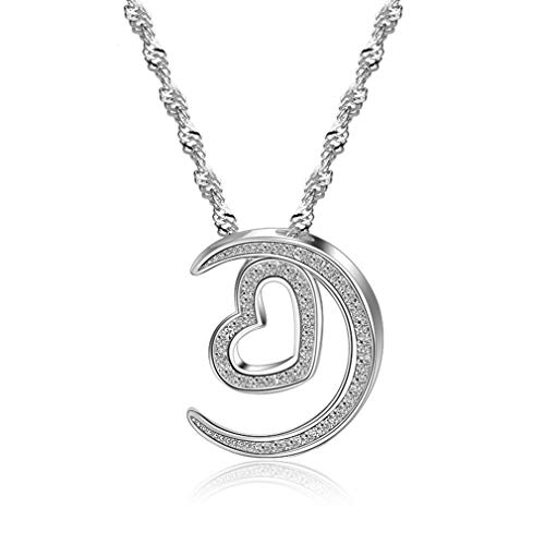 LOVESILVER 925 Sterling Silver Necklace Moon Heart-Shaped Silver Pendant Necklace Jewelry Ladies Accessories 18